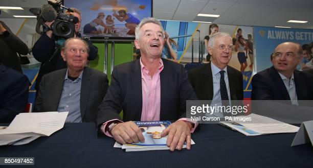 Ryanair Director David Bonderman CEO Michael O'Leary Directors Kyran McLaughlin and Howard Millar during the company's AGM at the their Dublin...