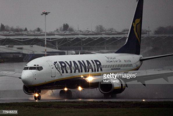 Ryanair flight from Dublin touches down at Bristol International Airport on January 8 2006 Lusgate England the first of two flights that landed...