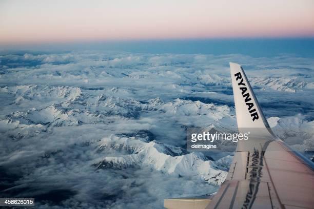 Ryanair Flight on Swiss Italian Alps, Aerial View