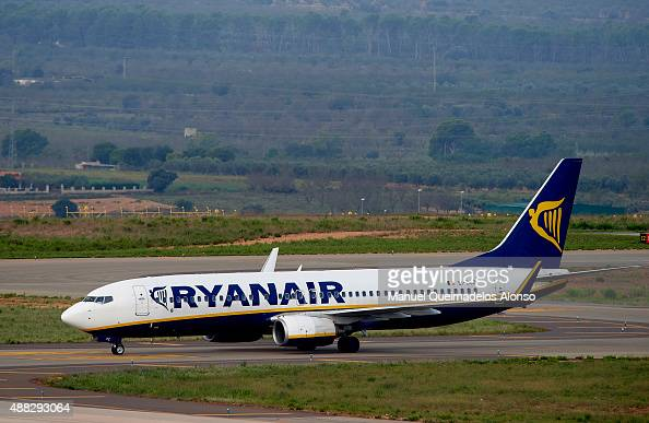 Ryanair low cost airline company plane prepares to takeoff at Castellon airport on September 15 2015 in Castellon de la Plana Spain Ryanair is the...