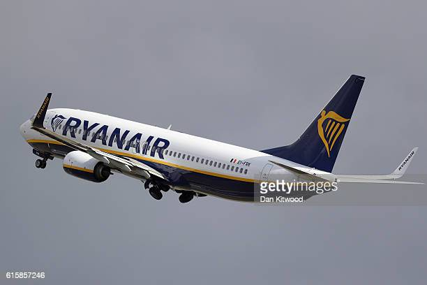 Ryanair plane departs from Stansted Airport on October 20 2016 in London England Ryanair has reduced its profit forecast following the drop in the...