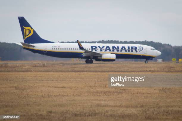 A Ryanair plane is seen in Bydgoszcz Poland on 19 March 2017