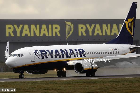 Ryanair plane lands at Stansted Airport on October 20 2016 in London England Ryanair has reduced its profit forecast following the drop in the pound...