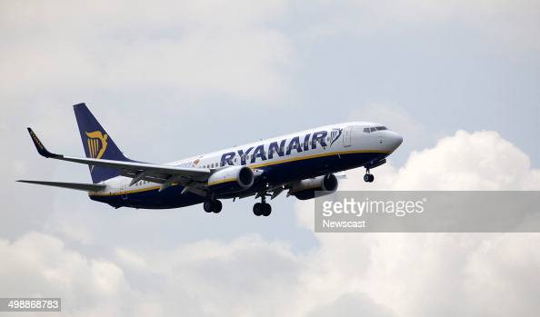 A Ryanair plane prepares to land at London's Stansted Airport Essex