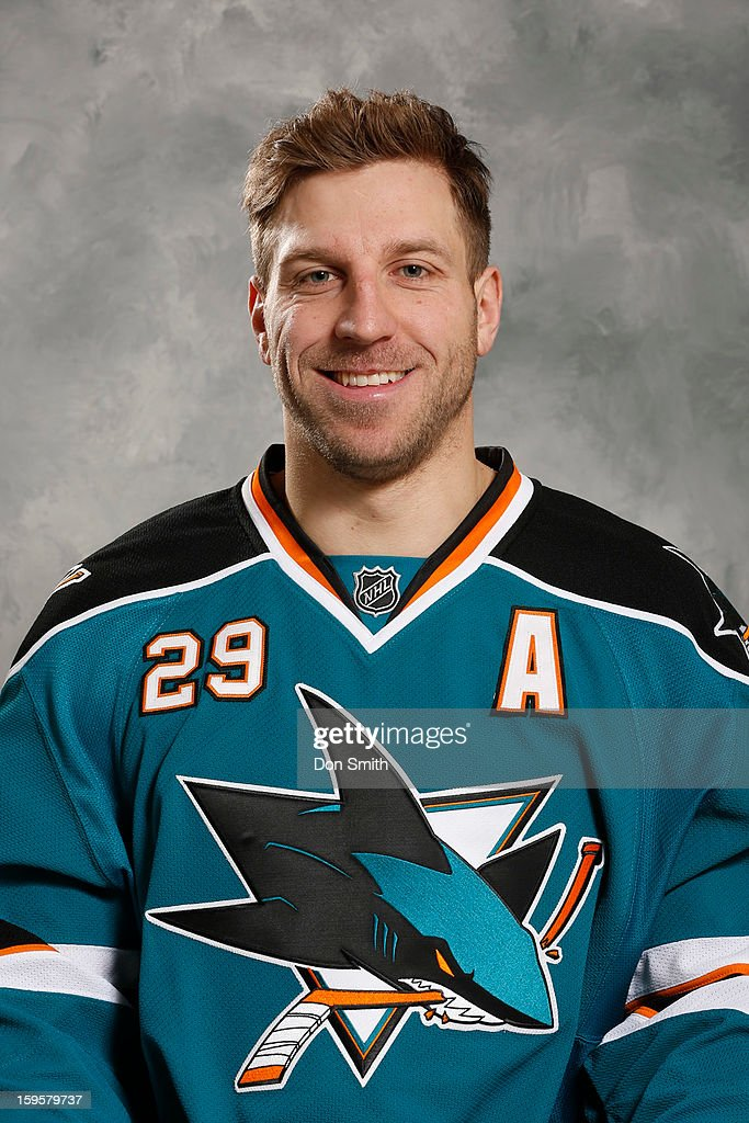 Ryane Clowe #29 of the San Jose Sharks poses for his official headshot for the 2012-13 season on January 13, 2013 at Sharks Ice in San Jose, California.