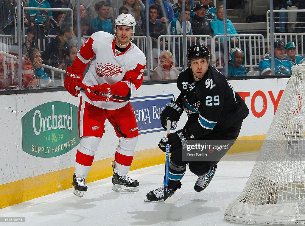 <a gi-track='captionPersonalityLinkClicked' href=/galleries/search?phrase=Ryane+Clowe&family=editorial&specificpeople=736658 ng-click='$event.stopPropagation()'>Ryane Clowe</a> #29 of the San Jose Sharks skates after the puck against Brendan Smith #2 of the Detroit Red Wings during an NHL game on March 28, 2013 at HP Pavilion in San Jose, California.
