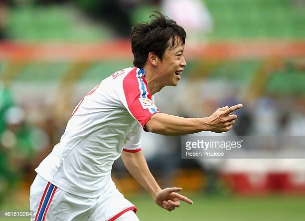 Ryang Yong Gi of DPR Korea celebrates after scoring a goal during the 2015 Asian Cup match between DPR Korea and Saudi Arabia at AAMI Park on January...