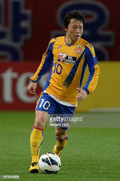 Ryang Yong Gi of Vegalta Sendai in action during the AFC Champions League Group E match between Vegalta Sendai and Jiangsu Sainty at Sendai Stadium...