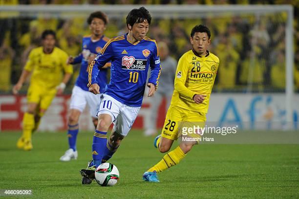 Ryang Yong Gi of Vegalta Sendai in action during the J League match between Kashiwa Reysol and Vegalta Sendai at Hitachi Kashiwa Soccer Stadium on...