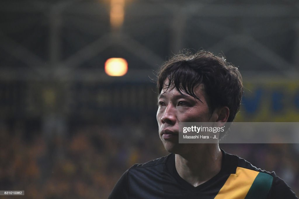 Ryang Yong Gi of Vegalta Sendai is seen after the J.League J1 match between Vegalta Sendai and Sanfrecce Hiroshima at Yurtex Stadium Sendai on August 13, 2017 in Sendai, Miyagi, Japan.