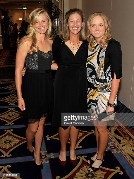 Ryann O'Toole Angela Stanford and Stacy Lewis of the USA pose during the Gala Dinner prior to the 2011 Solheim Cup at the Burlington Hotel on...