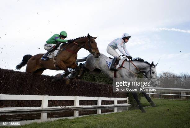 Rydalis ridden by Aidan Coleman jumps the water behind Cloudy Bob ridden by Colin Bolger before going on to win The Cavalry Handicap Steeple Chase at...