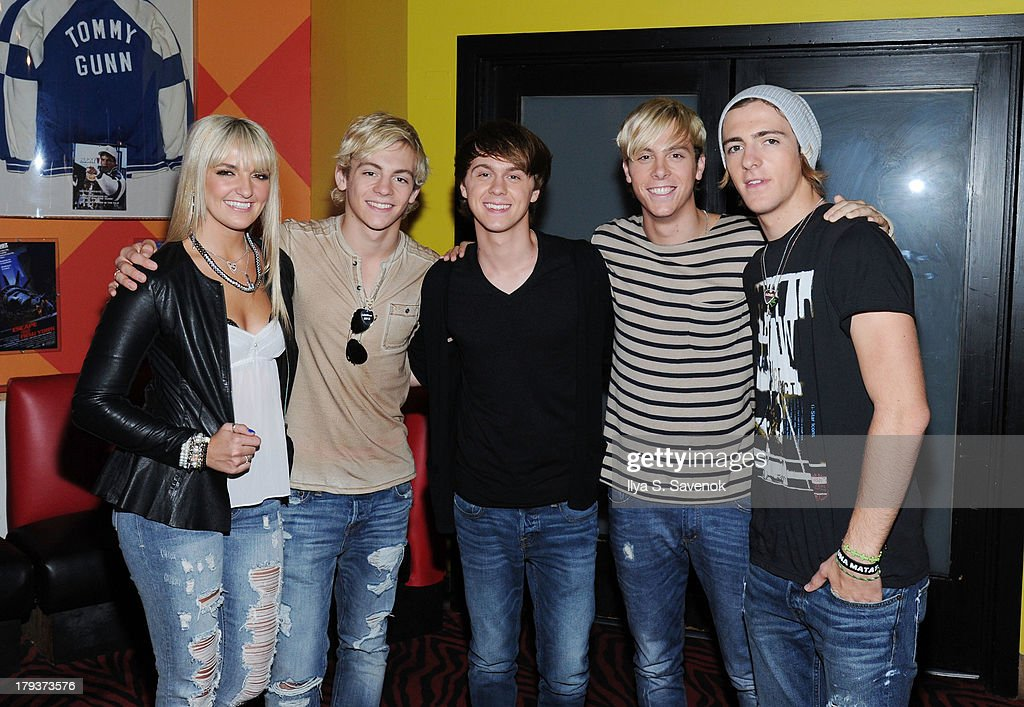 Rydel Lynch, <a gi-track='captionPersonalityLinkClicked' href=/galleries/search?phrase=Ross+Lynch&family=editorial&specificpeople=4814597 ng-click='$event.stopPropagation()'>Ross Lynch</a>, Ellington Ratliff, Riker Lynch and Rocky Lynch of the band R5 visit Planet Hollywood Times Square on September 2, 2013 in New York City.
