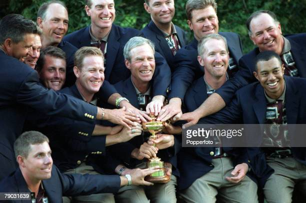 Ryder Cup Brookline Boston USA 24th26th September USA 14 1/2 v Europe 13 1/2 USA team captain Ben Crenshaw and other team members touch the coveted...