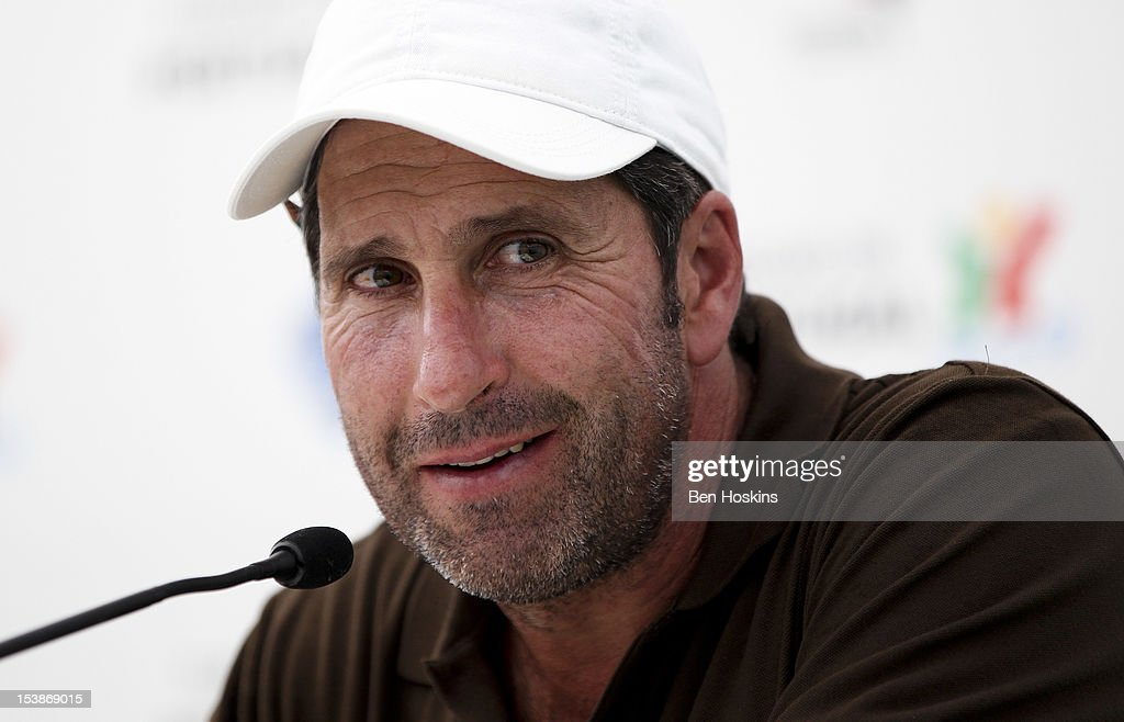 Ryder Cup captain Jose Maria Olazabal of Spain looks on during a press conference at the pro-am prior to the start of the Portugal Masters at the Victoria golf course at Villamoura on October 10, 2012 in Faro, Portugal.