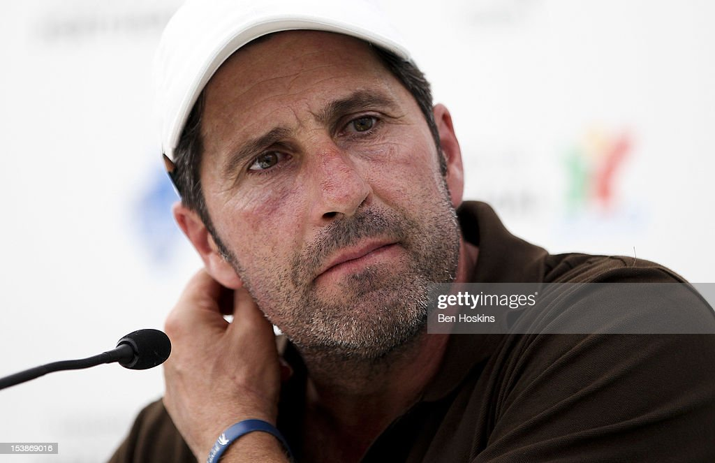 Ryder Cup captain Jose Maria Olazabal of Spain looks on during a press conference during the pro-am prior to the start of the Portugal Masters at the Victoria golf course at Villamoura on October 10, 2012 in Faro, Portugal.