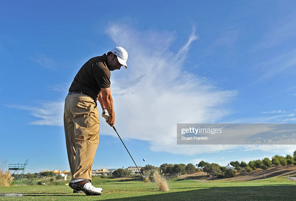 Ryder Cup Captain Jose Maria Olazabal of Spain plays a shot during the proam prior to the start of the Portugal Masters at the Victoria golf course...