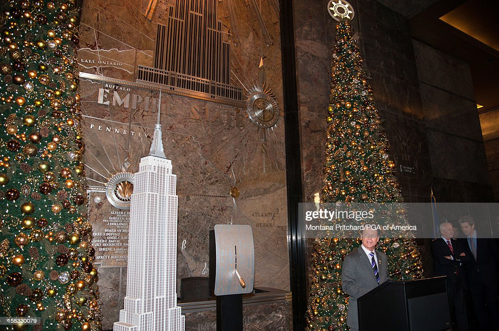 Ryder Cup Captain Tom Watson speaks to the media during the Empire State Building lighting ceremony in the lobby of the Empire State Building on December 13, 2012 in New York City.