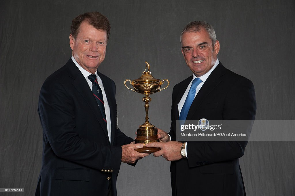 Ryder Cup Captains Tom Watson (L, Captain of USA) and <a gi-track='captionPersonalityLinkClicked' href=/galleries/search?phrase=Paul+McGinley&family=editorial&specificpeople=178983 ng-click='$event.stopPropagation()'>Paul McGinley</a> (Captain of Europe) pose for the official portraits for the 2014 Ryder Cup during the One-Year-To-Go event, at Gleneagles on September 24, 2013 in Gleneagles, Scotland.
