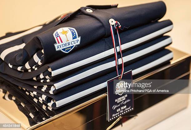 Ryder Cup logo detail on the Ryder Cup Team USA uniforms during the Ryder Cup Captain's Picks Media Tour at the Ralph Lauren Headquarters on...