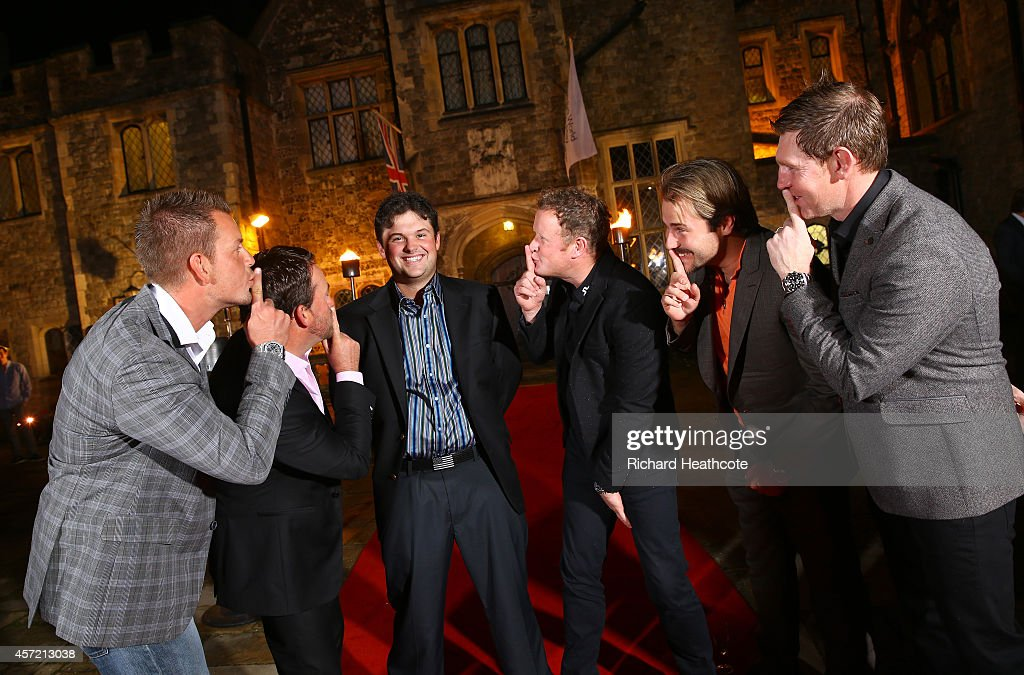 Ryder Cup stars (L-R) Henrik Stenson of Sweden, Graeme McDowell of Northern Ireland, Patrick Reed of the USA,Jamie Donaldson of Wales, Victor Dubuisson of France and Stephen Gallacher of Scotland jokingly tell Reed to be quiet at the Welcome Dinner at Eastwell Manor prior to the start of the Volvo World Match Play Championship at The London Club on October 14, 2014 in Ash, United Kingdom.