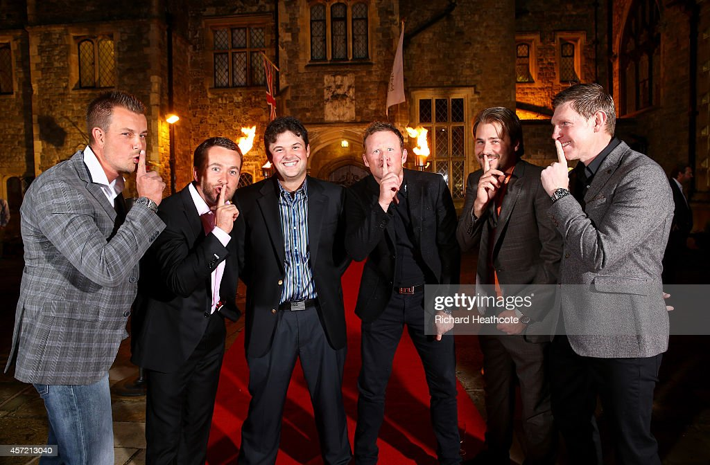 Ryder Cup stars (L-R) <a gi-track='captionPersonalityLinkClicked' href=/galleries/search?phrase=Henrik+Stenson&family=editorial&specificpeople=211537 ng-click='$event.stopPropagation()'>Henrik Stenson</a> of Sweden, <a gi-track='captionPersonalityLinkClicked' href=/galleries/search?phrase=Graeme+McDowell&family=editorial&specificpeople=196520 ng-click='$event.stopPropagation()'>Graeme McDowell</a> of Northern Ireland, <a gi-track='captionPersonalityLinkClicked' href=/galleries/search?phrase=Patrick+Reed&family=editorial&specificpeople=846151 ng-click='$event.stopPropagation()'>Patrick Reed</a> of the USA,<a gi-track='captionPersonalityLinkClicked' href=/galleries/search?phrase=Jamie+Donaldson&family=editorial&specificpeople=241203 ng-click='$event.stopPropagation()'>Jamie Donaldson</a> of Wales, <a gi-track='captionPersonalityLinkClicked' href=/galleries/search?phrase=Victor+Dubuisson&family=editorial&specificpeople=3333395 ng-click='$event.stopPropagation()'>Victor Dubuisson</a> of France and <a gi-track='captionPersonalityLinkClicked' href=/galleries/search?phrase=Stephen+Gallacher&family=editorial&specificpeople=215277 ng-click='$event.stopPropagation()'>Stephen Gallacher</a> of Scotland jokingly tell Reed to be quiet at the Welcome Dinner at Eastwell Manor prior to the start of the Volvo World Match Play Championship at The London Club on October 14, 2014 in Ash, United Kingdom.