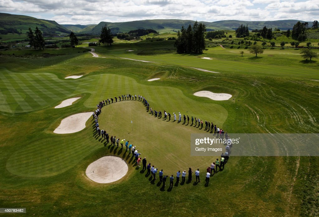 Ryder Cup supporters mark 100 days to go until The 2014 Ryder Cup by simultaneously chipping onto the 18th green of the PGA Centenary Course at...