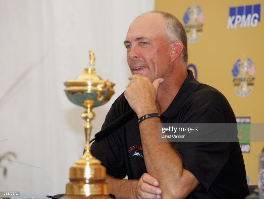 Ryder Cup Team Captain Tom Lehman sits beside the Ryder Cup trophy during his press conference after the proam for the 2006 Smurfit Kappa European...