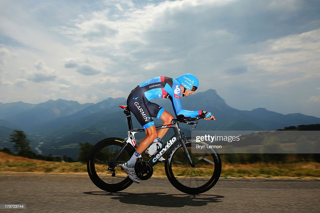 David Millar of Great Britain and Garmin Sharp rides during stage seventeen of the 2013 Tour de France, a 32KM Individual Time Trial from Embrun to Chorges, on July 17, 2013 in Chorges, France.