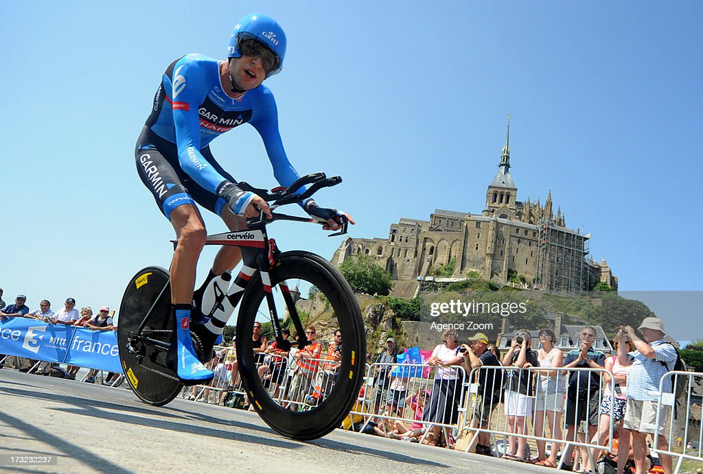 Ryder Hesjedal of Team Garmin-Sharp during Stage 11 of the Tour de France from Avranches to Mont-Saint-Michel on July 10, 2013 in Mont-Saint-Michel, France.