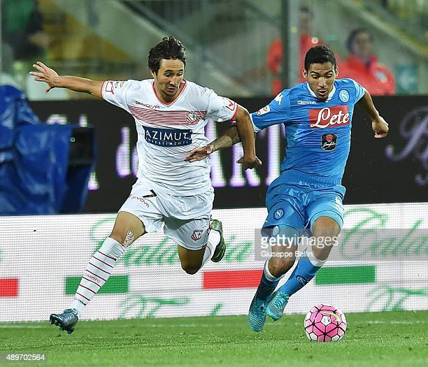 Ryder Matos of Carpi and Allan of Napoli in action during the Serie A match between Carpi FC and SSC Napoli at Alberto Braglia Stadium on September...