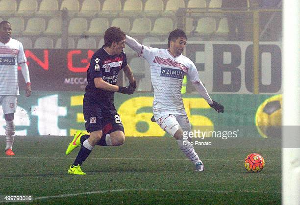 Ryder Matos of Carpi FC competes with Davide Bianchi of AC Vicenza during the TIM Cup match between Carpi FC and AC Vicenza Calcio at Alberto Braglia...