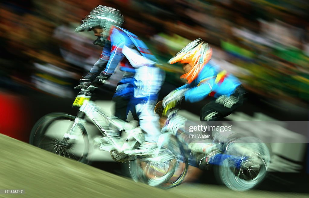 Ryder McIntosh of Canada competes in the 8yr old boys during day two of the UCI BMX World Championships at Vector Arena on July 25, 2013 in Auckland, New Zealand.