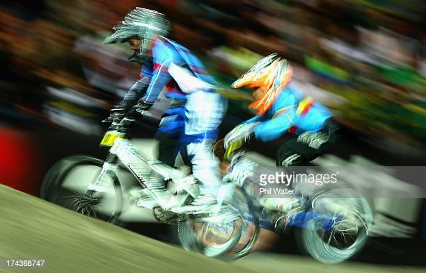 Ryder McIntosh of Canada competes in the 8yr old boys during day two of the UCI BMX World Championships at Vector Arena on July 25 2013 in Auckland...