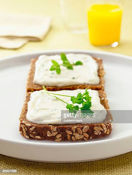 Rye bread with cheese spread