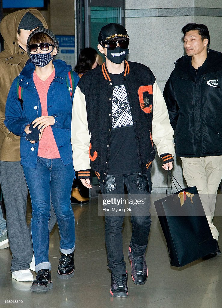 Ryeowook and Eunhyuk of South Korean boy band Super Junior M are seen upon arrival from China at Incheon International Airport on March 3, 2013 in Incheon, South Korea.