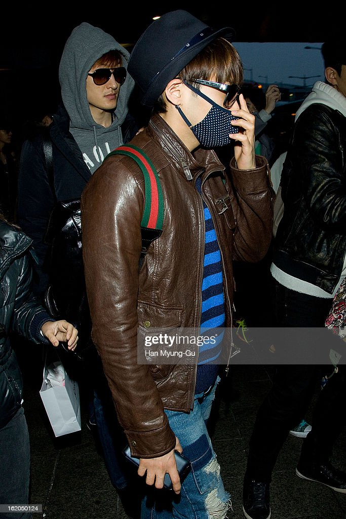 Ryeowook of boy band Super Junior M is seen upon arrival at Incheon International Airport on February 18, 2013 in Incheon, South Korea.