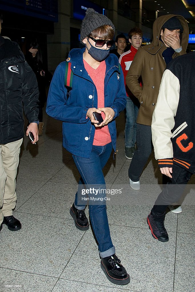 Ryeowook of South Korean boy band Super Junior M is seen upon arrival from China at Incheon International Airport on March 3, 2013 in Incheon, South Korea.