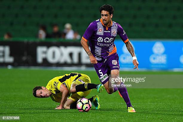 Ryhs Williams of the Perth Glory makes space during the round one ALeague match between the Perth Glory and the Central Coast Mariners at nib Stadium...