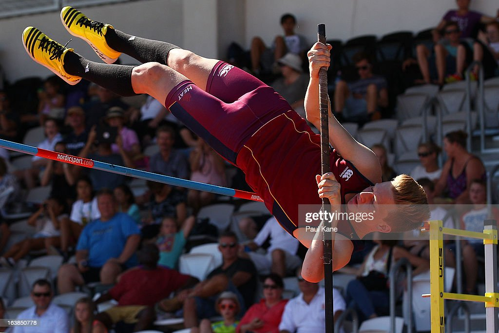 Ryka Dunemann of Queensland competes in the mens u15 pole vault during day six of the Australian Junior Championships at the WA Athletics Stadium on March 17, 2013 in Perth, Australia.