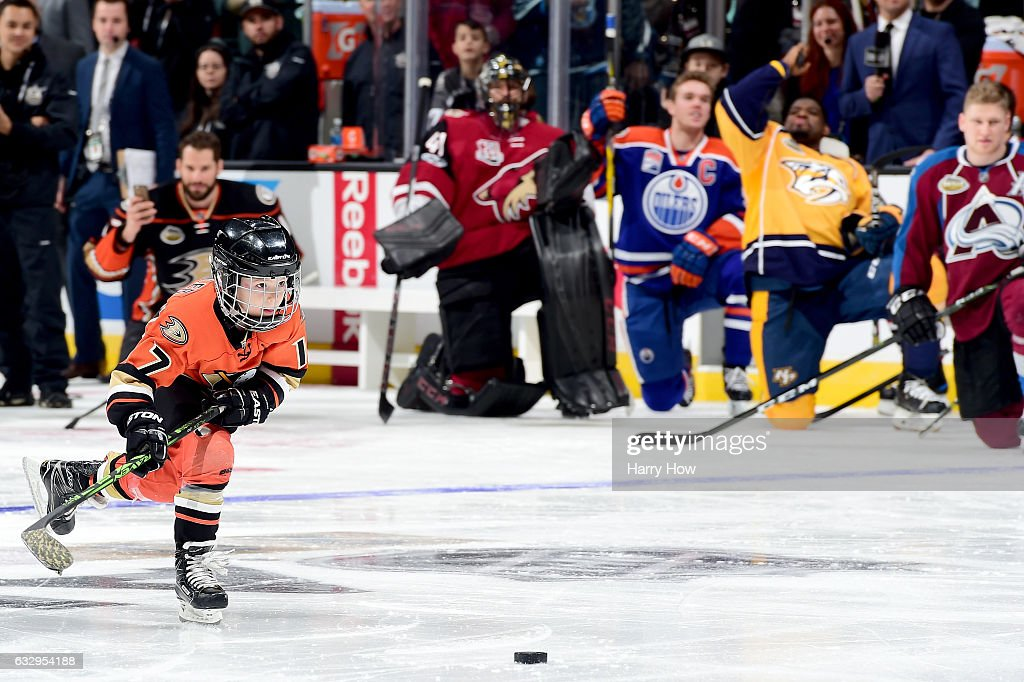 Ryker Kesler, son of Ryan Kesler #17 of the Anaheim Ducks (not pictured), competes in the Discover NHL Shootout during the 2017 Coors Light NHL All-Star Skills Competition as part of the 2017 NHL All-Star Weekend at STAPLES Center on January 28, 2017 in Los Angeles, California.