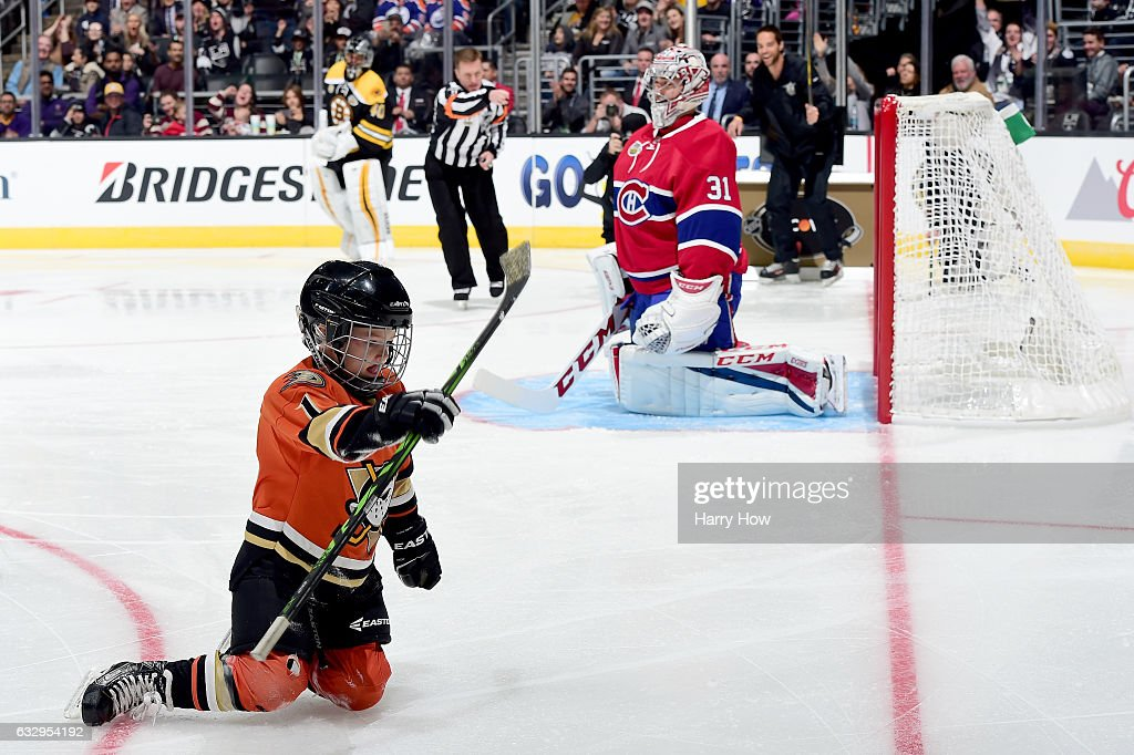 Ryker Kesler, son of Ryan Kesler #17 of the Anaheim Ducks (not pictured), reacts after scoring a goal in the Discover NHL Shootout during the 2017 Coors Light NHL All-Star Skills Competition as part of the 2017 NHL All-Star Weekend at STAPLES Center on January 28, 2017 in Los Angeles, California.