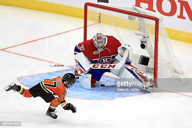 Ryker Kesler son of Ryan Kesler of the Anaheim Ducks scores a goal against Carey Price of the Montreal Canadiens in the Discover NHL Shootout during...