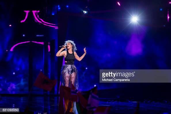 Rykka representing Switzerland performs the song 'The Last Of Our Kind' during the semifinals of the 2016 Eurovision Song Contest at Ericsson Globe...