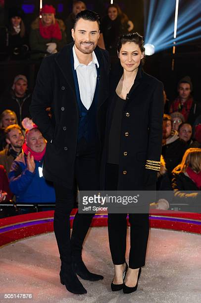 Rylan Clark and Emma Willis at the 2nd celebrity eviction from the Big Brother house at Elstree Studios on January 15 2016 in Borehamwood England