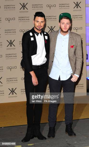 Rylan Clark and James Arthur arriving at a party to celebrate the UK launch of the Kardashian Kollection at Aqua London