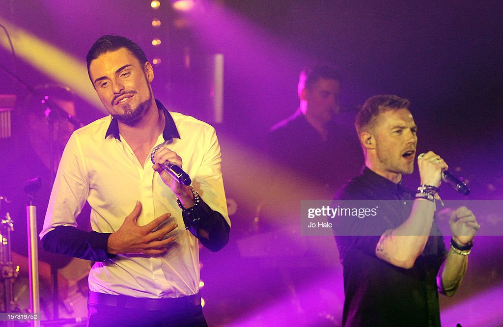 Rylan Clark and <a gi-track='captionPersonalityLinkClicked' href=/galleries/search?phrase=Ronan+Keating&family=editorial&specificpeople=201657 ng-click='$event.stopPropagation()'>Ronan Keating</a> perform at The Emeralds and Ivy Ball on December 1, 2012 in London, England.