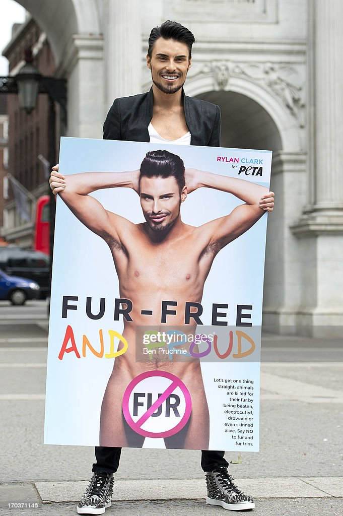<a gi-track='captionPersonalityLinkClicked' href=/galleries/search?phrase=Rylan+Clark&family=editorial&specificpeople=9804219 ng-click='$event.stopPropagation()'>Rylan Clark</a> attends a photocall to launch his new anti fur advert in support of PETA at Marble Arch on June 12, 2013 in London, England.