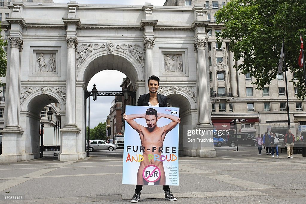 Rylan Clark attends a photocall to launch his new anti fur advert in support of PETA at Marble Arch on June 12, 2013 in London, England.