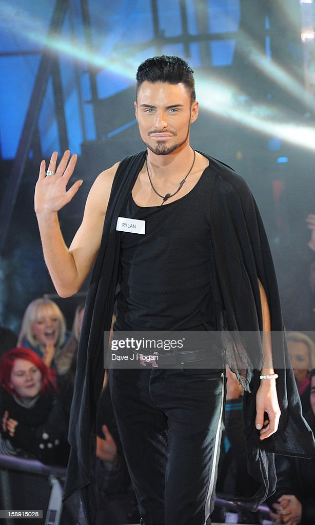 Rylan Clark enters the Celebrity Big Brother House at Elstree Studios on January 3, 2013 in Borehamwood, England.